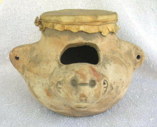 Antique 19th century Mexican Jug, Figural Face Vellum Skin Lid
