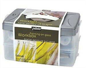 Pebeo Vitrail Stained Glass Paint Atelier Workbox Set - Glass Painting Kit