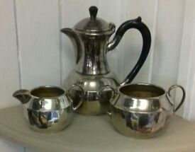 Silver plated Tea pot, milk jug and sugar bowl