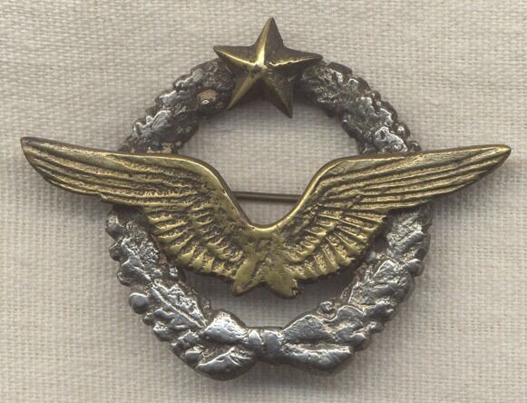 Early WWII French Pilot Badge Locally-Made in North Africa