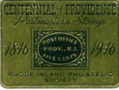 Vintage Poster Stamp Label PROVIDENCE RI 1946 Centennial Postmaster's Stamp