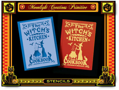 Halloween Stencil-WITCH'S KITCHEN COOKBOOK~Vintage Style Mystical Magical Spells
