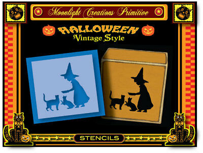 Halloween Stencil~ BLACK CAT DINNER~Vintage Style Magical Mystic Special - Vintage Halloween Specials