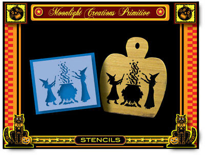 Halloween Stencil~GRANDMA'S POTION RECIPES~Scary Witches Black Cats Moon Crows