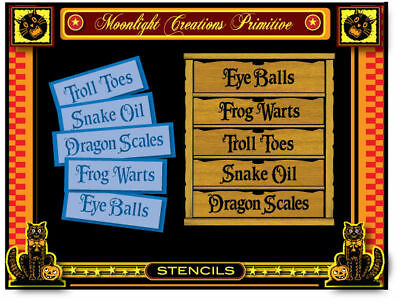 Halloween Stencil~5 WITCH BREW POTION INGREDIENT TITLES-Troll Toes Frog Warts - Witch Potion Ingredients Halloween