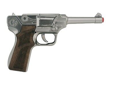 Cap Gun Pistol (Toy LUGER German Style Cap Gun Semi-auto pistol metal prop costume 8 Shot)