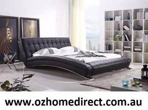 MANHATTAN BLACK LEATHER KING BED Chatswood Willoughby Area Preview