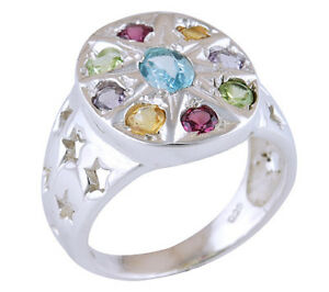 Genuine Gemstones ladies sterling ring, size 7.5