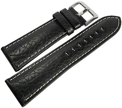 Black Leather Stitched Watch Band (20mm Hadley-Roma MS906 Mens Black Leather Contrast Stitched Watch Band)