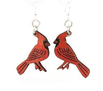 Green Tree Jewelry Cardinal Bird Wood Wooden Laser Cut Earrings #1503