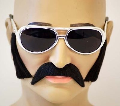Fake Black MOUSTACHE, SIDEBURNS AND GLASSES SET. Elvis- Freddie Mercury-70's - Fake Sideburns