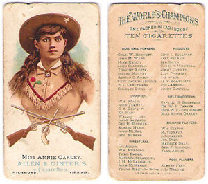 1887 N28 Allen & Ginter 'The World's Champions' MISS ANNIE OAKLEY Rifle Shooters