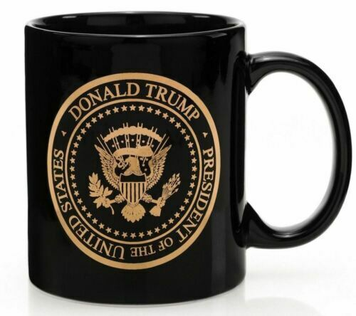 President Donald J. Trump Gold Seal Black Coffee Mug Cup 12 oz.