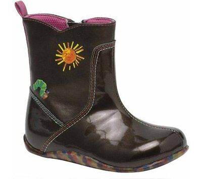 New Stride Rite Sunshine Caterpillar Booties Boots Eric Carle Brown 3.5 4 5 5.5