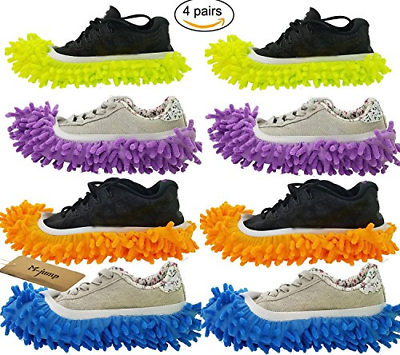 8 PCS 4 Pairs Duster Mop Slippers Shoes Cover Multi Function Chenille Fibre