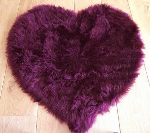 Aubergine Plum Purple Faux Fur Heart Shape Sheepskin