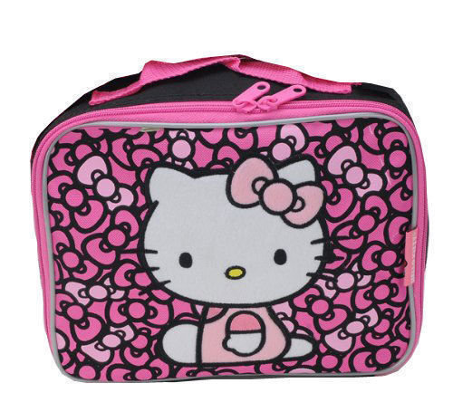 Lunch Bag Insulated Sanrio HELLO KITTY Black Pink Bow 9.5x7.5x4 NEW
