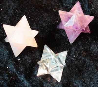 Merkaba 3 Sterne 20 mm Bergkristall,Rosenquarz,Amethyst