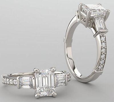 2 ct 1.50 carat Emerald cut Diamond GIA H color VS2 no fluorescence Excellent
