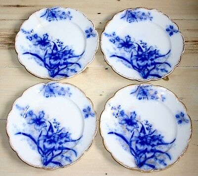 FOUR RARE ANTIQUE c.1896 JOHN MADDOCK BLUE FLOW DINNER PLATES ORCHID PATTERN