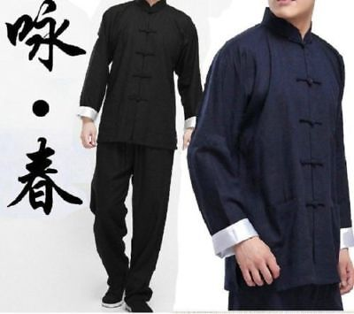 Chinese Kung Fu Wing Chun Suits Martial Arts Tai Chi Uniform Bruce Lee Costume - Chun Lee Costume