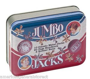 tin-box-JUMBO-JACKS-10-classic-metal-jacks-2-balls-handbook-USA-made-game
