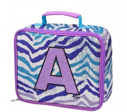 Glitter-Initial-Insulated-Lunch-Tote-Thermal-Lunch-Bag-Cool-Bag-Letter-A-B-M