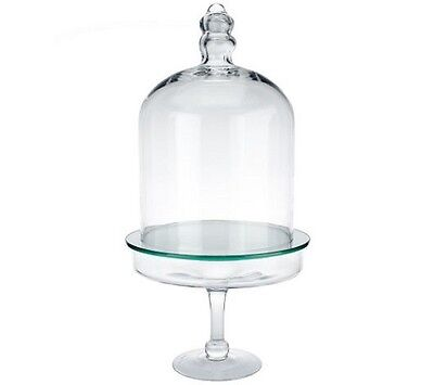 3-Piece Glass Cloche Dome with Mirror Insert and Footed Base H203479 CLEAR
