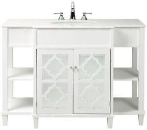 "24"" Bathroom Vanity Cabinet White Tech Stone/Quartz Top Glass Vessel  Sink ..."