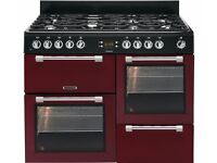 LEISURE 100cm Range Cooker Cookmaster CK110F232R Dual Fuel Red & Chrome 7 burner