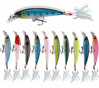 10PCS Lot 5.8cm//5.4g Fishing Lure Crankbait Minnow Bait Hook Bass Tackle Wobbler