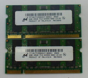 4GB (2x2GB) Micron DDR2 PC2-6400 Laptop RAM