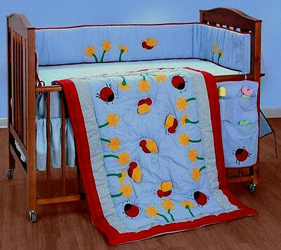 LADY BUG~HONEY BEE~BABY BED CRIB~NURSERY~4 PC BEDDING SET~COMFORTER~SHEET~BUMPER for sale  Shipping to India