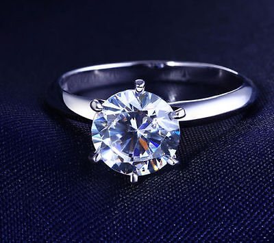 1 CT ROUND CUT DIAMOND SOLITAIRE ENGAGEMENT RING 18K WHITE GOLD ENHANCED 55