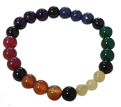 7 Chakras Stretchable Bracelet 8mm Gemstone beads FREE SHIPPING Seven Feng Shui
