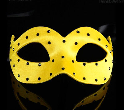 Mask from Venice Wolf Colombine Satin Veloute Yellow a Polka Dots Paper Mache