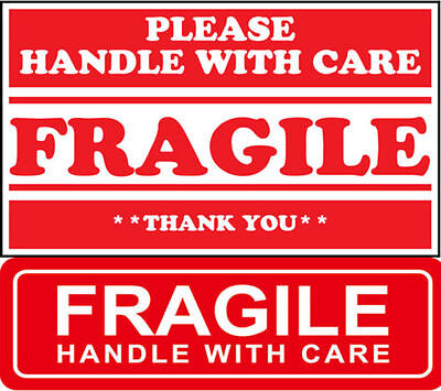 Red Fragile 1x3 2x3 Fragile Sticker Handle With Care Fragile Do Not Bend