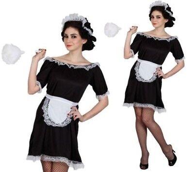 Französisches Dienstmädchen Kostüm Schwarz Weiß Kellnerin Outfit Größen - Französisch Dienstmädchen Outfit Kostüme