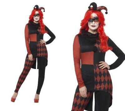 Damen Hofnarr Harlekin Kostüm Böser Clown jesterina Kostüm - Jesterina Kostüm