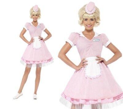 Damen Speiselokal Mädchen Kostüm 50er Jahre Rosa Rock n Roll Outfit UK 4-18 (50er Jahre Mädchen Outfit)