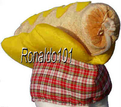 HOT DOG HAT LARGE YELLOW MUSTARD BASEBALL GAME BUNS GAG CART CAP
