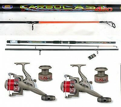 Lineaeffe Carbocast beachcaster/surf rod 14ft & reel x2 sea fishing combo