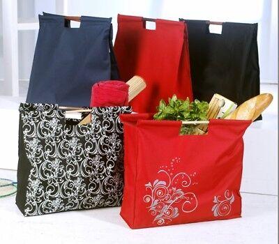 Trendy Einkaufstasche Shoppertaschen mit Holzgriffen Jumbo Format 48x45x15 wählb