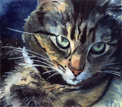 - Giclee PRINT Maine Coon Tabby Cat Art Painting Pet Portrait Grey Gray