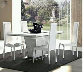 Caprice - High Gloss Fixed Top Dining Table - White
