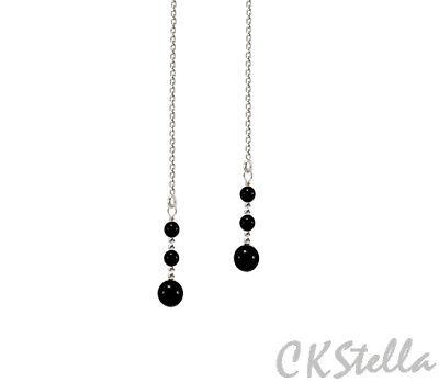 *CKstella*  Black Onyx  .925 Sterling Silver Ear Thread Threader Earrings