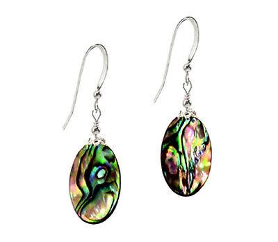 Oval Shell Earrings - *CKstella*  Paua Abalone Oval Shell MOP 925 Sterling Silver Ear Wire Earrings