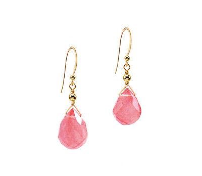 Cherry Quartz Briolette Earrings (*CKstella*  Pink Cherry Quartz Briolette Dangle 14K Gold gf Earrings )