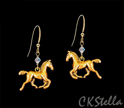 *CKstella*  Gold Galloping Horse Pewter Dangle 14K Gold gf Earrings UpickColor