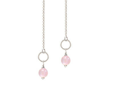 *CKstella*  Pink Rose Quartz Circle Loop 925 Sterling Silver Ear Thread Earrings ()